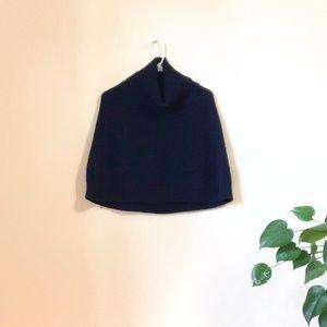 Black Knit Cowl Neck Poncho